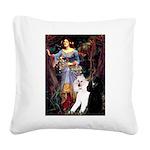 Ophelia /2 Poodles(b&w) Square Canvas Pillow