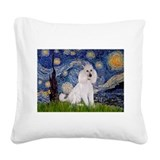 White standard poodle Square Canvas Pillows