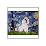 Starry Night / Std Poodle(w) Square Sticker 3