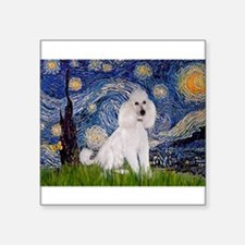"Starry Night / Std Poodle(w) Square Sticker 3"" x 3"