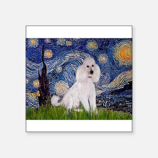 """Starry Night / Std Poodle(w) Square Sticker 3"""" x 3"""