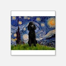 "Starry / Std Poodle(bl) Square Sticker 3"" x 3"""