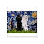 Starry Night / 2 Poodles(b&w) Square Sticker 3