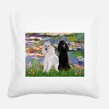 Lilies / 2 Poodles(b&w) Square Canvas Pillow