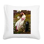 Windflowers / Poodle (BLk-ST) Square Canvas Pillow