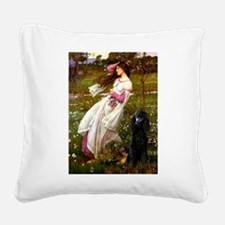 Windflowers / Poodle (BLk-ST) Square Canvas Pillow
