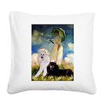 Umbrella / 2 Poodles(b & w) Square Canvas Pillow