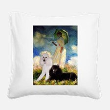 Umbrella / 2 Poodles(b & w) Square Canvas Pillow