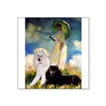 Umbrella / 2 Poodles(b & w) Square Sticker 3