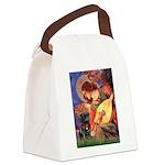 Mandolin Angel / Black Pug Canvas Lunch Bag