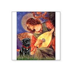 Mandolin Angel / Black Pug Square Sticker 3