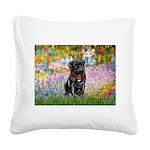 Garden / Black Pug Square Canvas Pillow