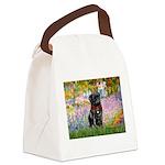 Garden / Black Pug Canvas Lunch Bag