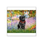Garden / Black Pug Square Sticker 3