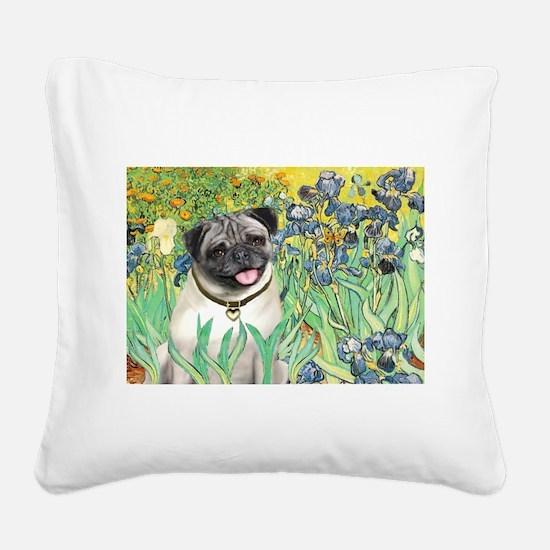 Irises / Pug Square Canvas Pillow