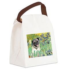 Irises / Pug Canvas Lunch Bag