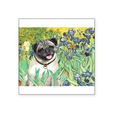 "Irises / Pug Square Sticker 3"" x 3"""
