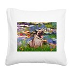 Lilies (#2)/Pug (#2) Square Canvas Pillow