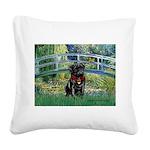 Bridge / Black Pug Square Canvas Pillow