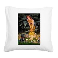 Fairies & Black Pug Square Canvas Pillow