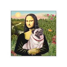 """Mona's Fawn Pug (#2) Square Sticker 3"""" X 3&qu"""
