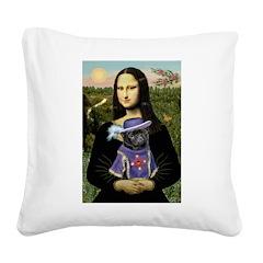 Mona & Sir Pug Square Canvas Pillow