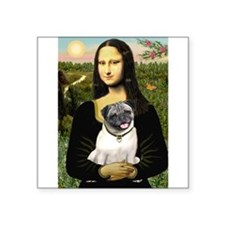 "Mona's Fawn Pug Square Sticker 3"" x 3"""