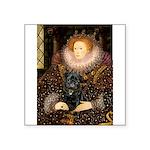 The Queen's Black Pug Square Sticker 3