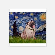 "Starry Night and Pug Square Sticker 3"" x 3"""