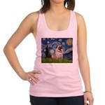 Starry Night and Pug Racerback Tank Top