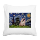 Starry night pug Square Canvas Pillows