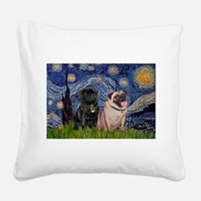 Starry Night / 2 Pugs Square Canvas Pillow