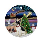 Rat terrier christmas Round Ornaments
