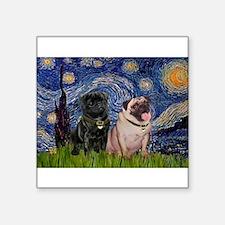 "Starry Night / 2 Pugs Square Sticker 3"" x 3"""