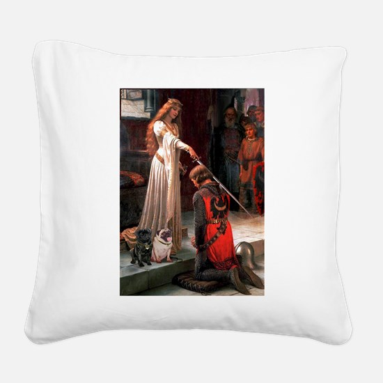 Accolade / 2 Pugs Square Canvas Pillow