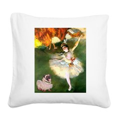 Dancer 1 & fawn Pug Square Canvas Pillow