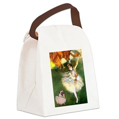 Dancer 1 & fawn Pug Canvas Lunch Bag