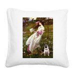 Windflowers / Pug Square Canvas Pillow