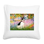 Garden / Rat Terrier Square Canvas Pillow