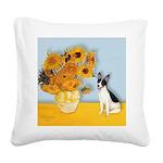 Sunflowers / Rat Terrier Square Canvas Pillow