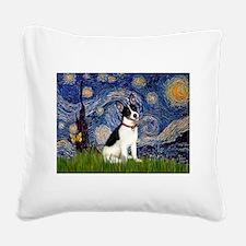 Starry / Rat Terreier Square Canvas Pillow