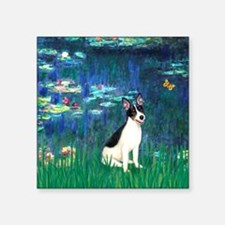 "Lilies / Rat Terrier Square Sticker 3"" x 3"""