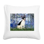 Lilies / Rat Terrier Square Canvas Pillow