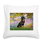 Garden / Rottweiler Square Canvas Pillow