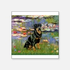 "Lilies2/Rottweiler Square Sticker 3"" x 3"""