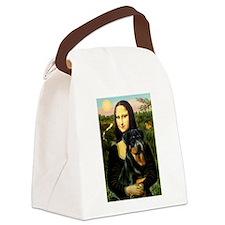 Mona Lisa/Rottweiler Canvas Lunch Bag