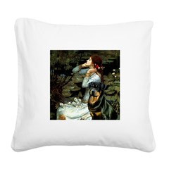 Ophelia/Rottweiler Square Canvas Pillow
