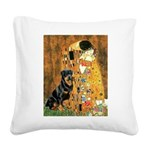 Kiss & Rottweiler Square Canvas Pillow