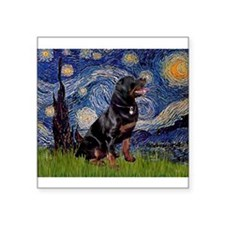 "Starry/Rottweiler (#6) Square Sticker 3"" x 3"""