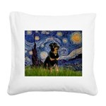 Starry Night Rottweiler Square Canvas Pillow